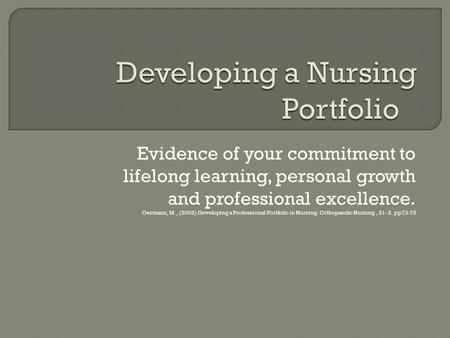 Developing a Nursing Portfolio