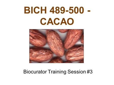 BICH 489-500 - CACAO Biocurator Training Session #3.