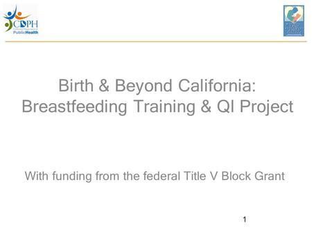 Birth & Beyond California: Breastfeeding Training & QI Project With funding from the federal Title V Block Grant 1.