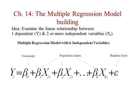 Ch. 14: The Multiple Regression Model building