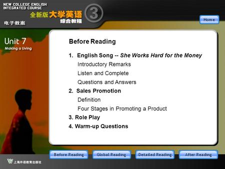 BR_main 1.English Song -- She Works Hard for the Money 2. <strong>Sales</strong> Promotion 3. Role Play Before Reading 4. Warm-up Questions Introductory Remarks Listen.
