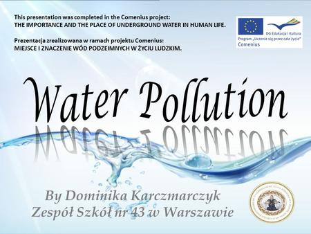 By Dominika Karczmarczyk Zespół Szkół nr 43 w Warszawie This presentation was completed in the Comenius project: THE IMPORTANCE AND THE PLACE OF UNDERGROUND.