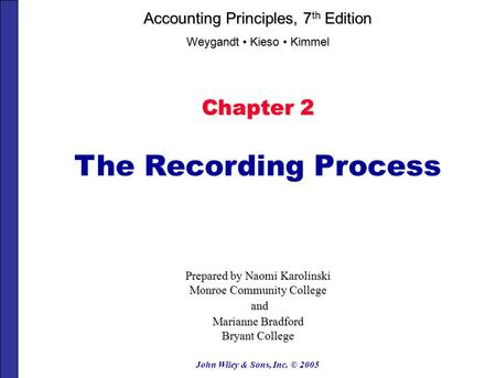 The Recording Process Chapter 2 Accounting Principles, 7th Edition