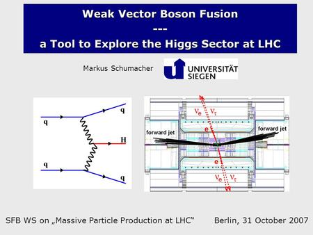 "Weak Vector Boson Fusion --- a Tool to Explore the Higgs Sector at LHC Markus Schumacher SFB WS on ""Massive Particle Production at LHC"" Berlin, 31 October."