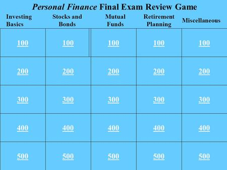100 200 300 400 500 100 200 300 400 500 100 Retirement Planning Miscellaneous Investing Basics Stocks and Bonds Mutual Funds Personal Finance Final Exam.