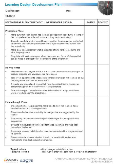 TRANSFORMING CAPABILITY SUPPORT MATERIALS LEARNING DESIGN Learning Design Development Plan DEVELOPMENT PLAN COMMITMENT: LINE MANAGERS SHOULD: AGREEDREVIEWED.