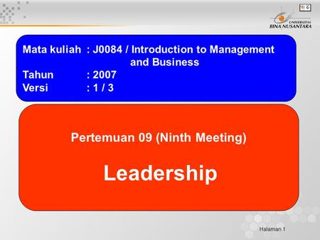 Halaman 1 Mata kuliah: J0084 / Introduction to Management and Business Tahun: 2007 Versi: 1 / 3 Pertemuan 09 (Ninth Meeting) Leadership.