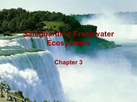 Safeguarding Freshwater Ecosystems Chapter 3. Freshwater Ecosystem Earth's hydrological system is a huge asset that is being destroyed by human actions.