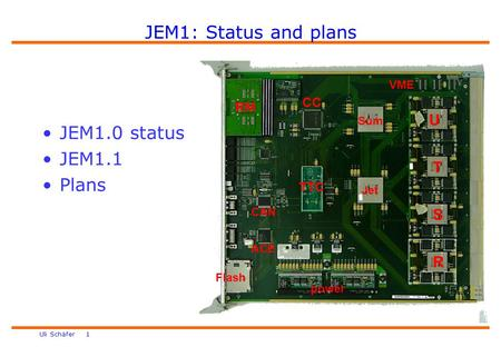 Uli Schäfer 1 JEM1: Status and plans power Jet Sum R S T U VME CC RM ACE CAN Flash TTC JEM1.0 status JEM1.1 Plans.