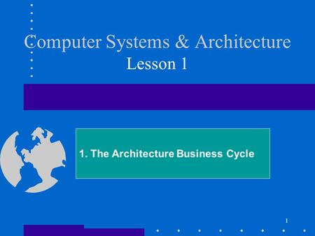 1 Computer Systems & Architecture Lesson 1 1. The Architecture Business Cycle.