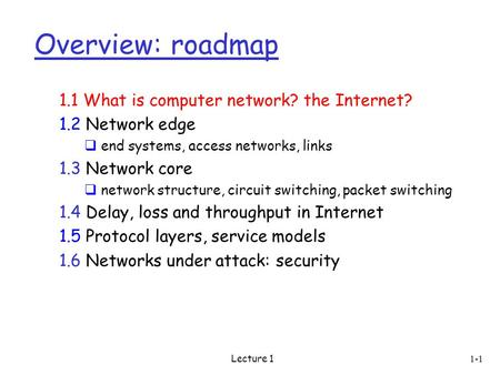 Lecture 1 Overview: roadmap 1.1 What is computer network? the Internet? 1.2 Network edge  end systems, access networks, links 1.3 Network core  network.