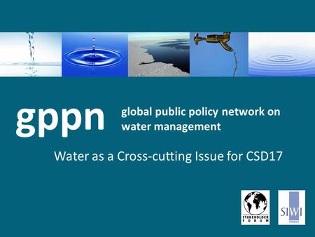 Global public policy network on water management Water as a Cross-cutting Issue for CSD17 gppn.