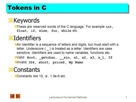 tokens in c keywords these are reserved words of the c
