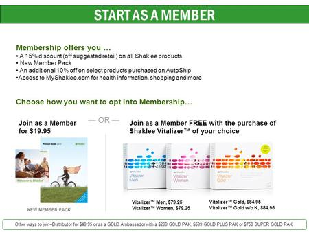 START AS A MEMBER Membership offers you … A 15% discount (off suggested retail) on all Shaklee products New Member Pack An additional 10% off on select.
