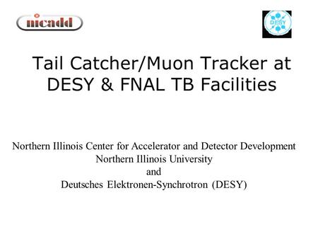 Tail Catcher/Muon Tracker at DESY & FNAL TB Facilities Northern Illinois Center for Accelerator and Detector Development Northern Illinois University and.