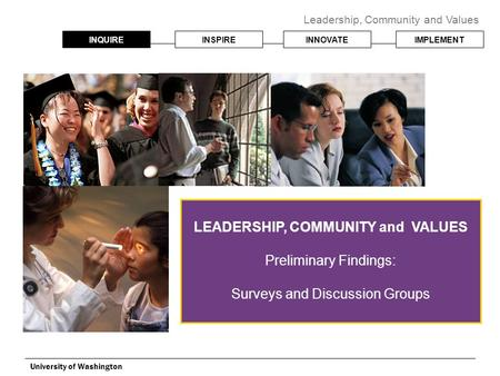 INQUIREINSPIREINNOVATEIMPLEMENT Leadership, Community and Values University of Washington LEADERSHIP, COMMUNITY and VALUES Preliminary Findings: Surveys.