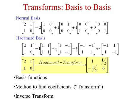 "Transforms: Basis to Basis Normal Basis Hadamard Basis Basis functions Method to find coefficients (""Transform"") Inverse Transform."