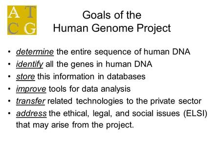 Goals of the Human Genome Project determine the entire sequence of human DNA identify all the genes in human DNA store this information in databases improve.