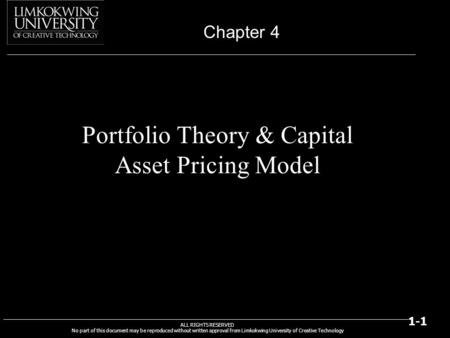 Portfolio Theory & Capital Asset Pricing Model
