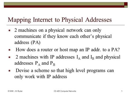 © MMII JW RyderCS 428 Computer Networks1 Mapping Internet to Physical Addresses  2 machines on a physical network can only communicate if they know each.