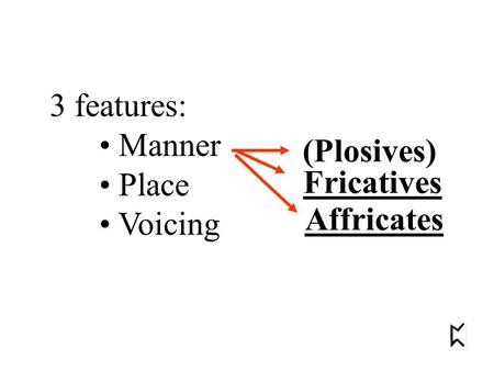3 features: Manner Place Voicing (Plosives) Fricatives Affricates.