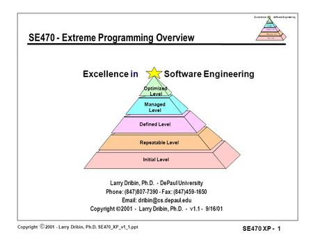 Copyright  2001 - Larry Dribin, Ph.D. SE470_XP_v1_1.ppt SE470 XP - 1 Excellence in Software Engineering Repeatable Level Defined Level Manage d Level.