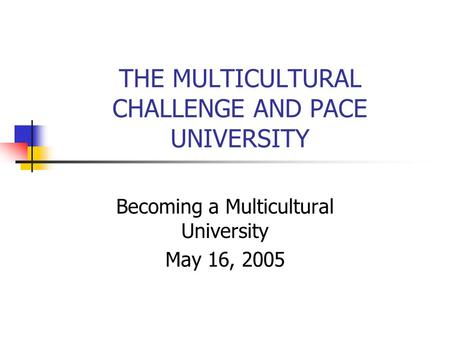 THE MULTICULTURAL CHALLENGE AND PACE UNIVERSITY Becoming a Multicultural University May 16, 2005.