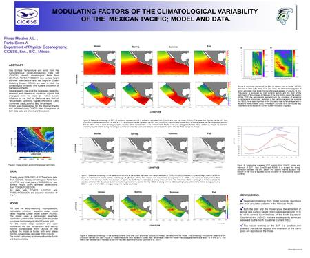 MODULATING FACTORS OF THE CLIMATOLOGICAL VARIABILITY OF THE MEXICAN PACIFIC; MODEL AND DATA. ABSTRACT. Sea Surface Temperature and wind from the Comprehensive.