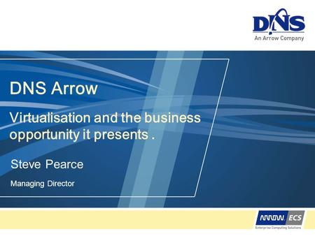 DNS Arrow Virtualisation and the business opportunity it presents. Steve Pearce Managing Director.