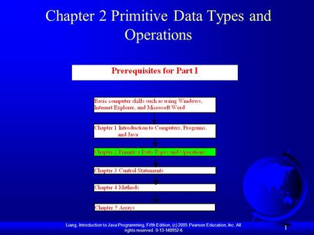 Liang, Introduction to Java Programming, Fifth Edition, (c) 2005 Pearson Education, Inc. All rights reserved. 0-13-148952-6 1 Chapter 2 Primitive Data.