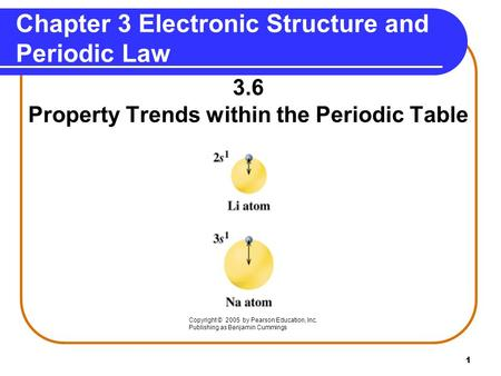 1 Chapter 3 Electronic Structure and Periodic Law 3.6 Property Trends within the Periodic Table Copyright © 2005 by Pearson Education, Inc. Publishing.