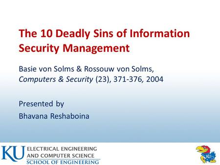 The 10 Deadly Sins of Information Security Management