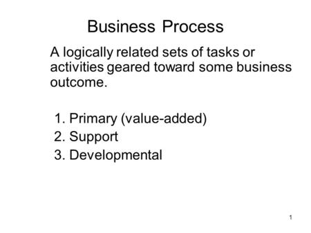 Business Process A logically related sets of tasks or activities geared toward some business outcome. 1. Primary (value-added) 2. Support 3. Developmental.