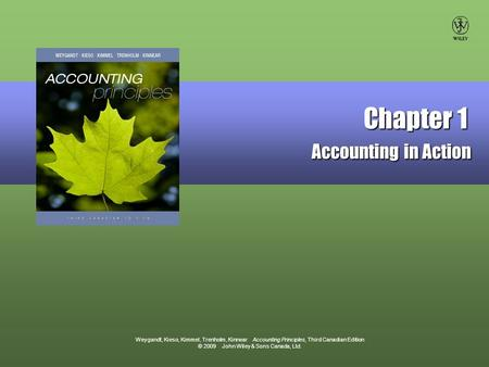 Weygandt, Kieso, Kimmel, Trenholm, Kinnear Accounting Principles, Third Canadian Edition © 2009 John Wiley & Sons Canada, Ltd. Chapter 1 Accounting in.