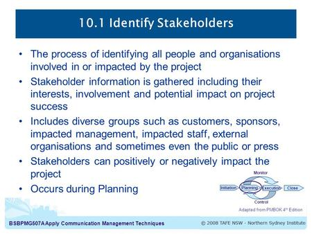 10.1 Identify Stakeholders
