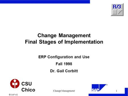  SAP AG CSU Chico Change Management1 Change Management Final Stages of Implementation ERP Configuration and Use Fall 1998 Dr. Gail Corbitt.