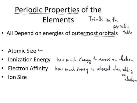 Periodic Properties of the Elements All Depend on energies of outermost orbitals Atomic Size Ionization Energy Electron Affinity Ion Size.