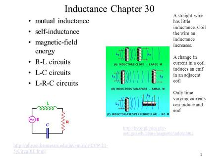 Inductance Chapter 30 mutual inductance self-inductance magnetic-field energy R-L circuits L-C circuits L-R-C circuits 1