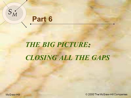McGraw-Hill © 2000 The McGraw-Hill Companies 1 S M S M McGraw-Hill © 2000 The McGraw-Hill Companies Part 6 : THE BIG PICTURE: CLOSING ALL THE GAPS.