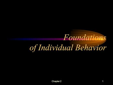 Chapter 21 Foundations of Individual Behavior. Chapter 22 Learning Objectives Define key biographical characteristics Identify two types of ability Shape.