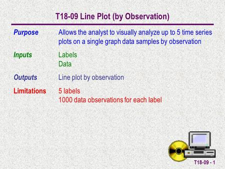 T18-09 - 1 T18-09 Line Plot (by Observation) Purpose Allows the analyst to visually analyze up to 5 time series plots on a single graph data samples by.