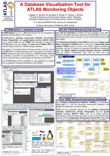 A Database Visualization Tool for ATLAS Monitoring Objects A Database Visualization Tool for ATLAS Monitoring Objects J. Batista, A. Amorim, M. Brandão,