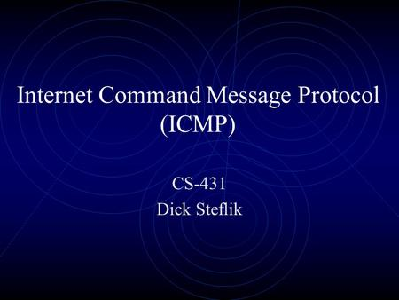 Internet Command Message Protocol (ICMP) CS-431 Dick Steflik.