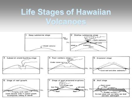 Life Stages of Hawaiian Volcanoes. Why do Hawaiian Volcanoes Change With Time? Plate tectonics and hot spots –Source of magma is fixed in the mantle –Pacifc.