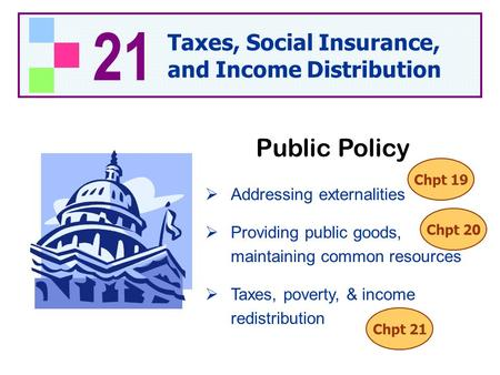 21 Taxes, Social Insurance, and Income Distribution  Addressing externalities  Providing public goods, maintaining common resources  Taxes, poverty,