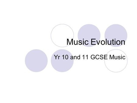 Music Evolution Yr 10 and 11 GCSE Music. Today's Aims Define Music Evolution Understand and describe specific styles of music within Music Evolution -