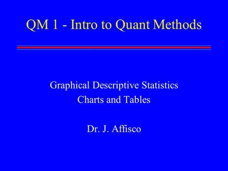 QM 1 - Intro to Quant Methods Graphical Descriptive Statistics Charts and Tables Dr. J. Affisco.
