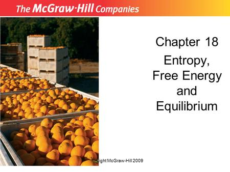 Copyright McGraw-Hill 2009 Chapter 18 Entropy, Free Energy and Equilibrium.