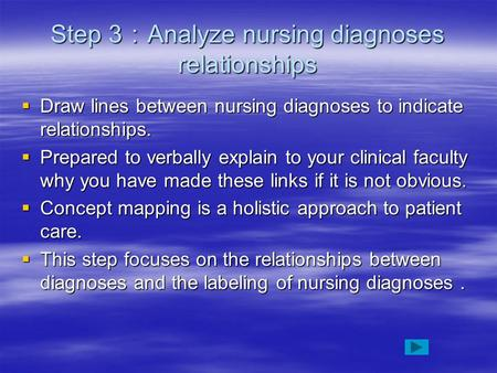 Step 3 : Analyze nursing diagnoses relationships  Draw lines between nursing diagnoses to indicate relationships.  Prepared to verbally explain to your.