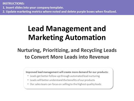 Improved lead management will create more demand for our products: Leads get better follow-up through automated lead nurturing Leads will better understand.